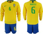 Wholesale Cheap Brazil #6 Marcelo Home Long Sleeves Soccer Country Jersey