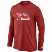Wholesale Cheap Philadelphia Phillies Long Sleeve MLB T-Shirt Red