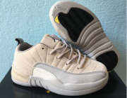 Wholesale Cheap Kids Air Jordan 12 Low Shoes Orewood Brown/Gray-White