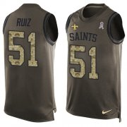Wholesale Cheap Nike Saints #51 Cesar Ruiz Green Men's Stitched NFL Limited Salute To Service Tank Top Jersey