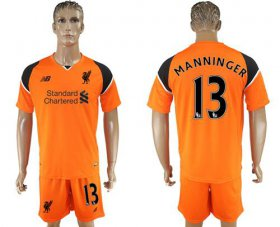 Wholesale Cheap Liverpool #13 Manninger Orange Goalkeeper Soccer Club Jersey