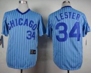 Wholesale Cheap Cubs #34 Jon Lester Blue(White Strip) Cooperstown Throwback Stitched MLB Jersey