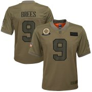 Wholesale Cheap Youth New Orleans Saints #9 Drew Brees Nike Camo 2019 Salute to Service Game Jersey
