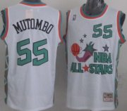 Wholesale Cheap NBA 1996 All-Star #55 Dikembe Mutombo White Swingman Throwback Jersey