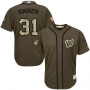 Wholesale Nationals #31 Max Scherzer Green Salute to Service Stitched Youth Baseball Jersey