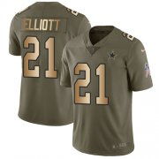 Wholesale Cheap Nike Cowboys #21 Ezekiel Elliott Olive/Gold Youth Stitched NFL Limited 2017 Salute to Service Jersey