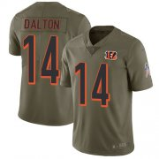 Wholesale Cheap Nike Bengals #14 Andy Dalton Olive Men's Stitched NFL Limited 2017 Salute To Service Jersey