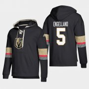 Wholesale Cheap Vegas Golden Knights #5 Deryk Engelland Black adidas Lace-Up Pullover Hoodie