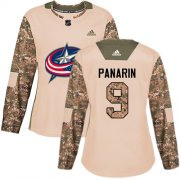 Wholesale Cheap Adidas Blue Jackets #9 Artemi Panarin Camo Authentic 2017 Veterans Day Women's Stitched NHL Jersey