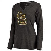 Wholesale Cheap Women's St.Louis Cardinals Gold Collection Long Sleeve V-Neck Tri-Blend T-Shirt Black