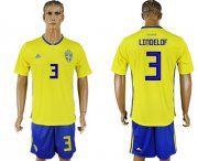 Wholesale Cheap Sweden #3 Lindelof Home Soccer Country Jersey