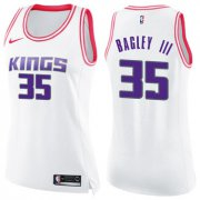 Wholesale Cheap Women's Sacramento Kings #35 Marvin Bagley III White Pink NBA Swingman Fashion Jersey