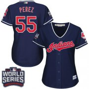 Wholesale Cheap Indians #55 Roberto Perez Navy Blue 2016 World Series Bound Women's Alternate Stitched MLB Jersey
