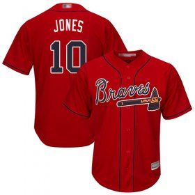 Wholesale Cheap Braves #10 Chipper Jones Red Cool Base Stitched Youth MLB Jersey