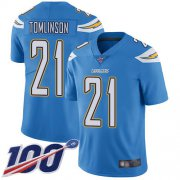 Wholesale Cheap Nike Chargers #21 LaDainian Tomlinson Electric Blue Alternate Men's Stitched NFL 100th Season Vapor Limited Jersey