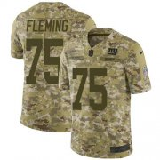 Wholesale Cheap Nike Giants #75 Cameron Fleming Camo Youth Stitched NFL Limited 2018 Salute To Service Jersey