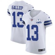 Wholesale Cheap Nike Cowboys #13 Michael Gallup White Men's Stitched With Established In 1960 Patch NFL New Elite Jersey