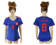 Wholesale Cheap Women's Colombia #8 Aguilar Away Soccer Country Jersey