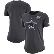 Wholesale Cheap NFL Women's Dallas Cowboys Nike Anthracite Crucial Catch Tri-Blend Performance T-Shirt