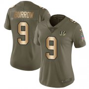 Wholesale Cheap Nike Bengals #9 Joe Burrow Olive/Gold Women's Stitched NFL Limited 2017 Salute To Service Jersey