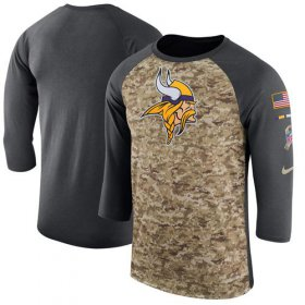 Wholesale Cheap Men\'s Minnesota Vikings Nike Camo Anthracite Salute to Service Sideline Legend Performance Three-Quarter Sleeve T-Shirt