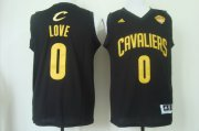 Wholesale Cheap Men's Cleveland Cavaliers #0 Kevin Love 2017 The NBA Finals Patch Black With Gold Swingman Jersey