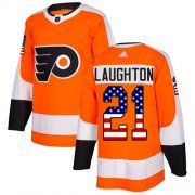 Wholesale Cheap Adidas Flyers #21 Scott Laughton Orange Home Authentic USA Flag Stitched NHL Jersey