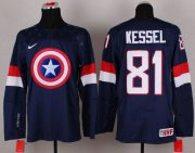 Wholesale Cheap Olympic Team USA #81 Phil Kessel Navy Blue Captain America Fashion Stitched NHL Jersey