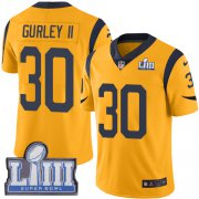 Wholesale Cheap Nike Rams #30 Todd Gurley II Gold Super Bowl LIII Bound Youth Stitched NFL Limited Rush Jersey