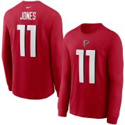 Wholesale Cheap Atlanta Falcons #11 Julio Jones Nike Player Name & Number Long Sleeve T-Shirt Red