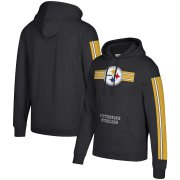 Wholesale Cheap Pittsburgh Steelers Mitchell & Ness Three Stripe Pullover Hoodie Black