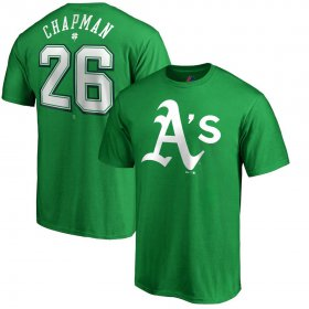 Wholesale Cheap Oakland Athletics #26 Matt Chapman Majestic St. Patrick\'s Day Stack Player Name & Number T-Shirt Kelly Green