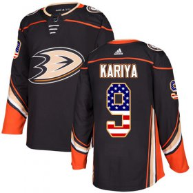 Wholesale Cheap Adidas Ducks #9 Paul Kariya Black Home Authentic USA Flag Stitched NHL Jersey
