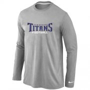 Wholesale Cheap Nike Tennessee Titans Authentic Font Long Sleeve T-Shirt Grey