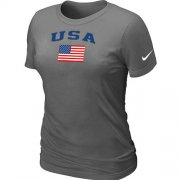 Wholesale Cheap Women's USA Olympics USA Flag Collection Locker Room T-Shirt Dark Grey