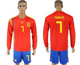 Wholesale Cheap Spain #7 Morata Red Home Long Sleeves Soccer Country Jersey