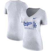 Wholesale Cheap Los Angeles Dodgers Nike Women's Tri-Blend Practice T-Shirt White