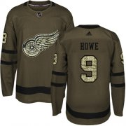 Wholesale Cheap Adidas Red Wings #9 Gordie Howe Green Salute to Service Stitched NHL Jersey