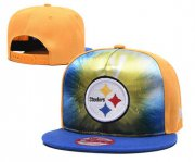Wholesale Cheap Steelers Team Logo Yellow Royal Adjustable Leather Hat TX