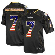 Wholesale Cheap Nike Steelers #7 Ben Roethlisberger Black Men's Stitched NFL Elite USA Flag Fashion Jersey