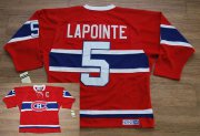 Wholesale Cheap Canadiens #5 Guy Lapointe Stitched Red CH CCM Throwback NHL Jersey