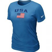 Wholesale Cheap Women's USA Olympics USA Flag Collection Locker Room T-Shirt Light Blue