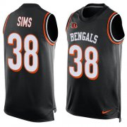 Wholesale Cheap Nike Bengals #38 LeShaun Sims Black Team Color Men's Stitched NFL Limited Tank Top Jersey