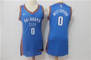 Wholesale Cheap Nike Oklahoma City Thunder #0 Russell Westbrook Blue Women Swingman Jersey