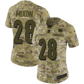 Wholesale Cheap Nike Bengals #28 Joe Mixon Camo Women\'s Stitched NFL Limited 2018 Salute to Service Jersey