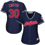 Wholesale Cheap Indians #30 Joe Carter Navy Blue Alternate Women's Stitched MLB Jersey