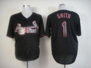 Wholesale Cheap Cardinals #1 Ozzie Smith Black Fashion Stitched MLB Jersey