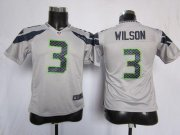 Wholesale Cheap Nike Seahawks #3 Russell Wilson Grey Alternate Youth Stitched NFL Elite Jersey