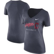 Wholesale Cheap Cleveland Indians Nike Women's Practice Tri-Blend V-Neck T-Shirt Navy