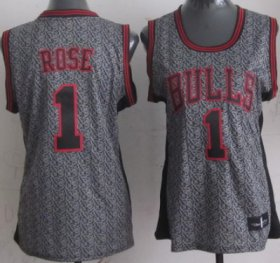 Wholesale Cheap Chicago Bulls #1 Derrick Rose Gray Static Fashion Womens Jersey